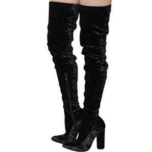 Cape Robbin Velvet Thigh High Stacked Heel Boot💕